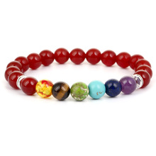 Chakra Seven Colors Smooth Stone Bead Bracelet for Men Women Charm Elastic Hand Jewelry Gift DropShipping