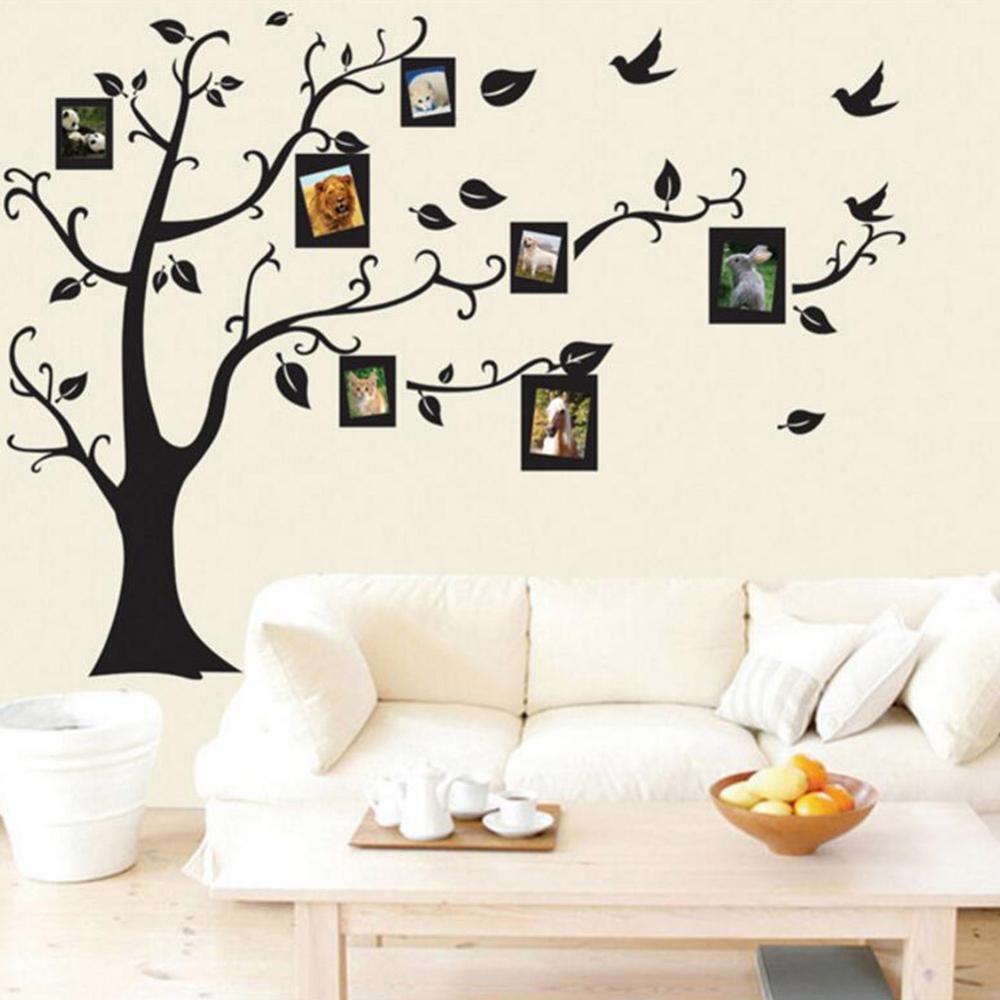 Houshold Tree Design Wall Black Art Photo Frame Memory Tree Wall Stickers Decor Family Sitting Room Tree Wall Decal