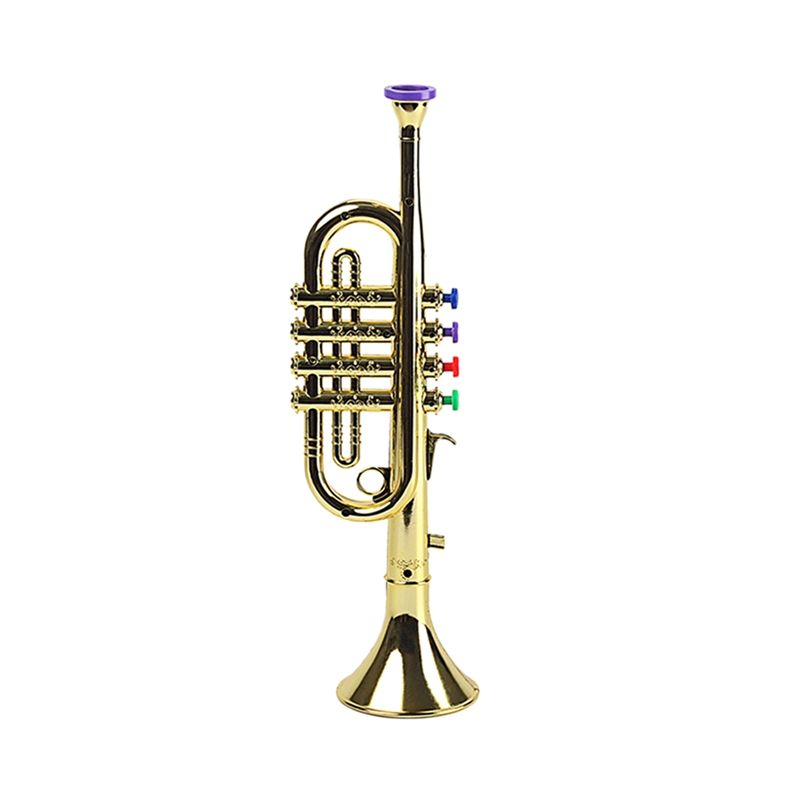 Kids Plastic Trumpet With 3 Colored Keys For Early Developmental Music Education Toy