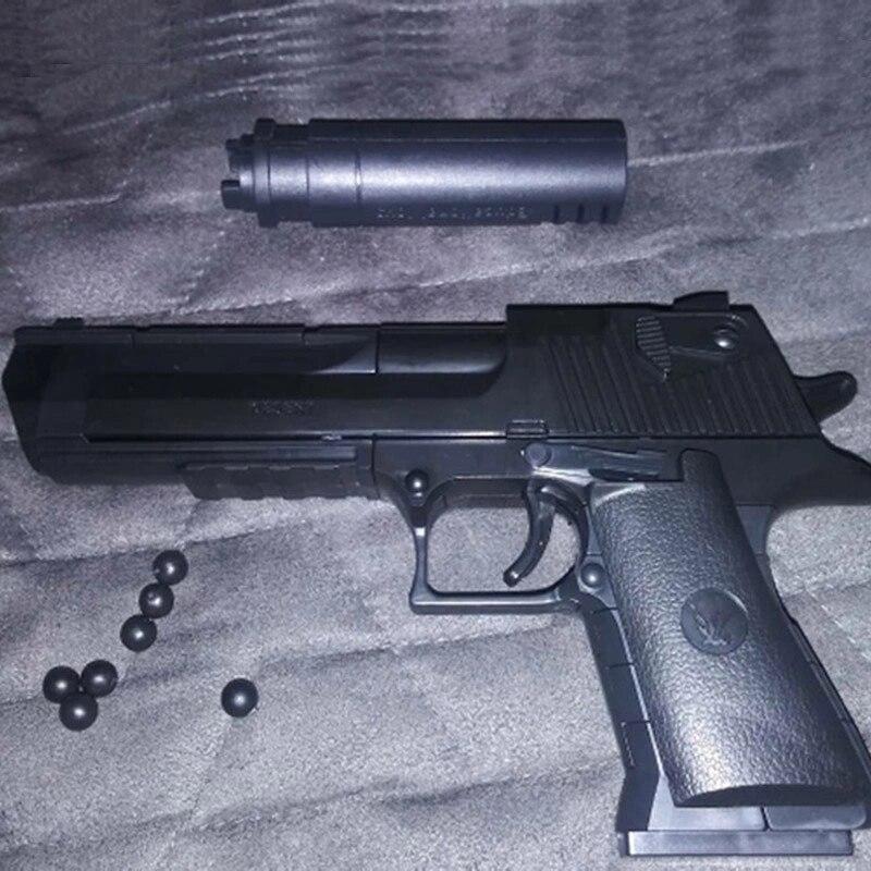 DIY بها بنفسك العسكرية بندقية مسدس الصحراء النسر جمع نموذج يمكن النار ألعاب مكعبات البناء للأطفال الأولاد الهدايا لا سلاح