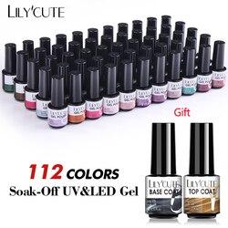 LILYCUTE 112 Colors Gel Nail Polish Set Semi Permanent Hybrid Gel Nail Varnish Set With Base Top Coat Soak Off UV LED Nail Gel