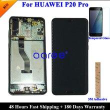 נבדק מקורי סופר AMOLED עבור HUAWEI P20 Pro LCD תצוגה עבור Huawei P20 פרו תצוגת LCD מסך מגע Digitizer עצרת