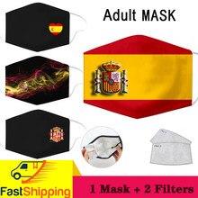 Máscara de impressão de bandeira espanhola algodão pm2.5 carbono filtro de inserção máscaras subir das cinzas padrão máscara facial anti-poeira máscara reutilizável