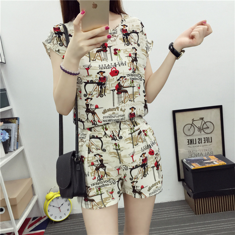 WOMEN'S Suit Summer 2019 Summer Outer Wear Loose Casual Fashion Seaside Beach Shorts Short-Sleeved Shirt Two-Piece Set