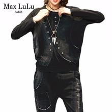 MAX Lulu 2019 ฤดูใบไม้ร่วงเกาหลีแฟชั่นสุภาพสตรีVINTAGE 2 ชิ้นชุดสตรีPatchwork Tops HaremกางเกงCasual Tracksuits PLUSขนาด