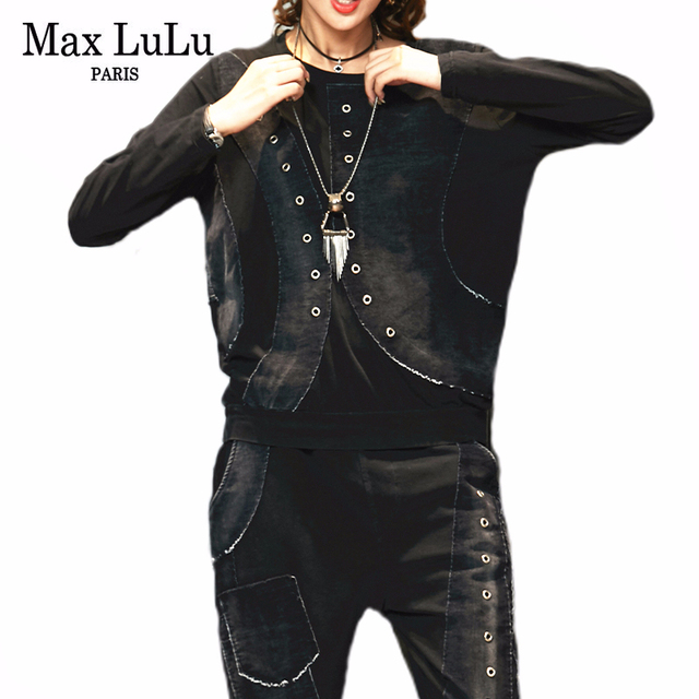 Max LuLu 2019 Autunno Coreano di Modo Dellannata Delle Signore A Due Pezzi Set Delle Donne Patchwork Magliette E Camicette Pantaloni Stile Harem Casual Tute Più Il Formato