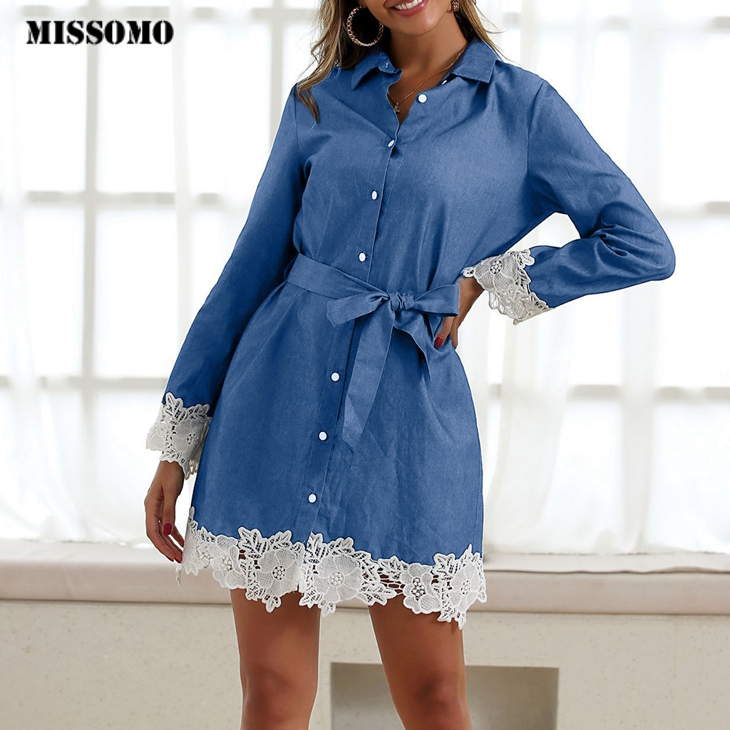 MISSOMO Denim Dress Women Summer Casual Long Sleeve With Lace Bow Vestidos Bodycon Mini Party Dress Ady Slim Shirt Dress Jeans 8