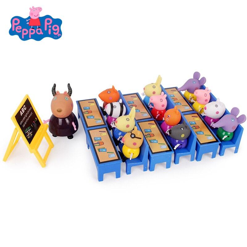 26pcs Peppa Pig George Friend School Desk Set Toys Piggy Teacher Action Figure Model Dolls Children High Quality Toy Gifts