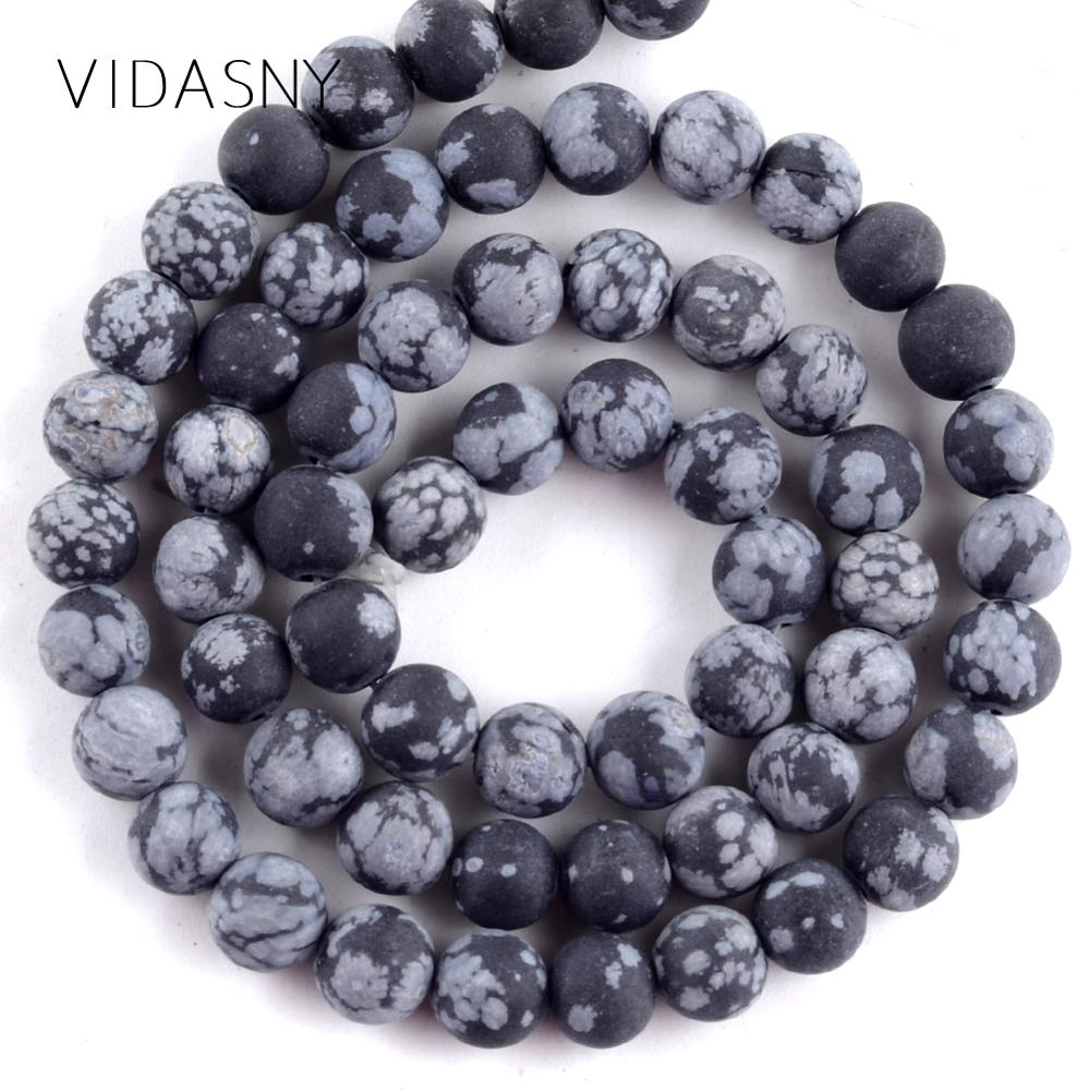 Натуральный камень тусклый полированный черный Снежинка Jaspers бусины для изготовления ювелирных изделий 4-12 мм круглые бусины Diy браслеты ож...