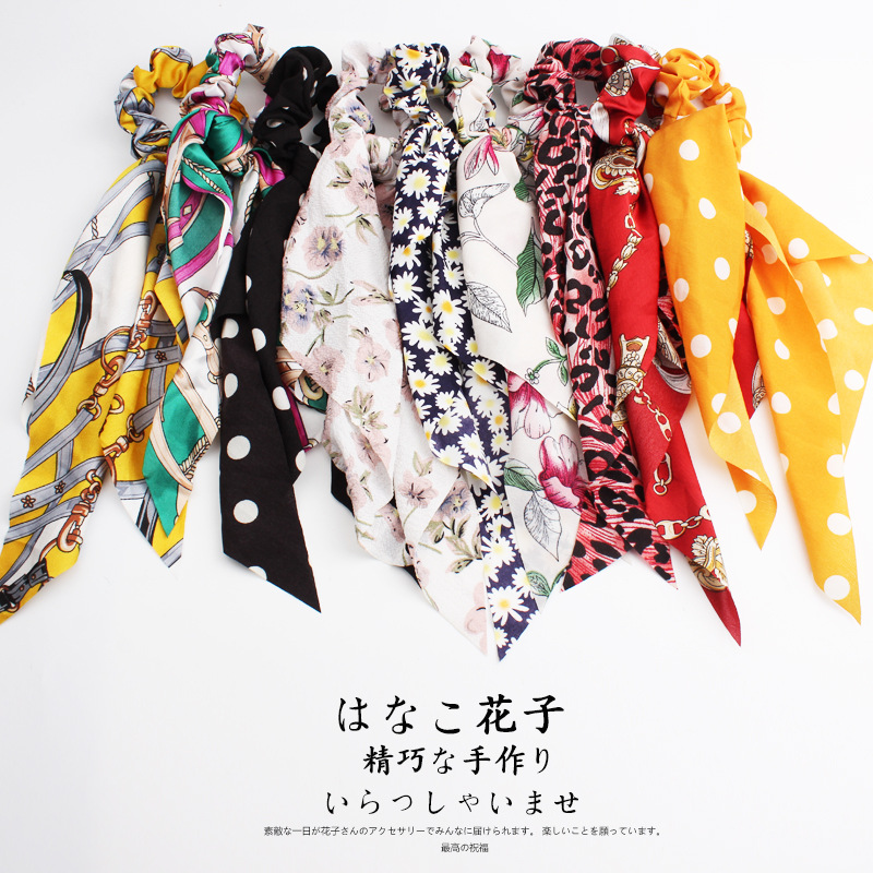 Woman Ribbon Hair Ties Chiffon Floral Scrunchies Dot Elastic Hairband Ladies Girls Rubber Band Hair Accessories Rope Gum