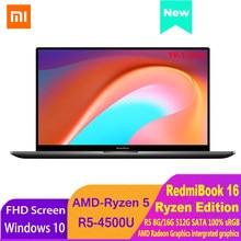 Xiaomi RedmiBook 16 Ryzen Edition Ноутбук AMD Ryzen R5-4500U 8 ГБ/16 ГБ DDR4 512 ГБ SSD Ноутбук 1080P экран компьютер