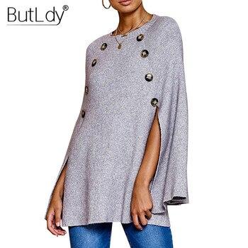 Button Irregular Cloak Sweater Women Knitting Pullover Autumn Winter Fashion 2019 Batwing Sleeve Sweater Knitwear Female Tops