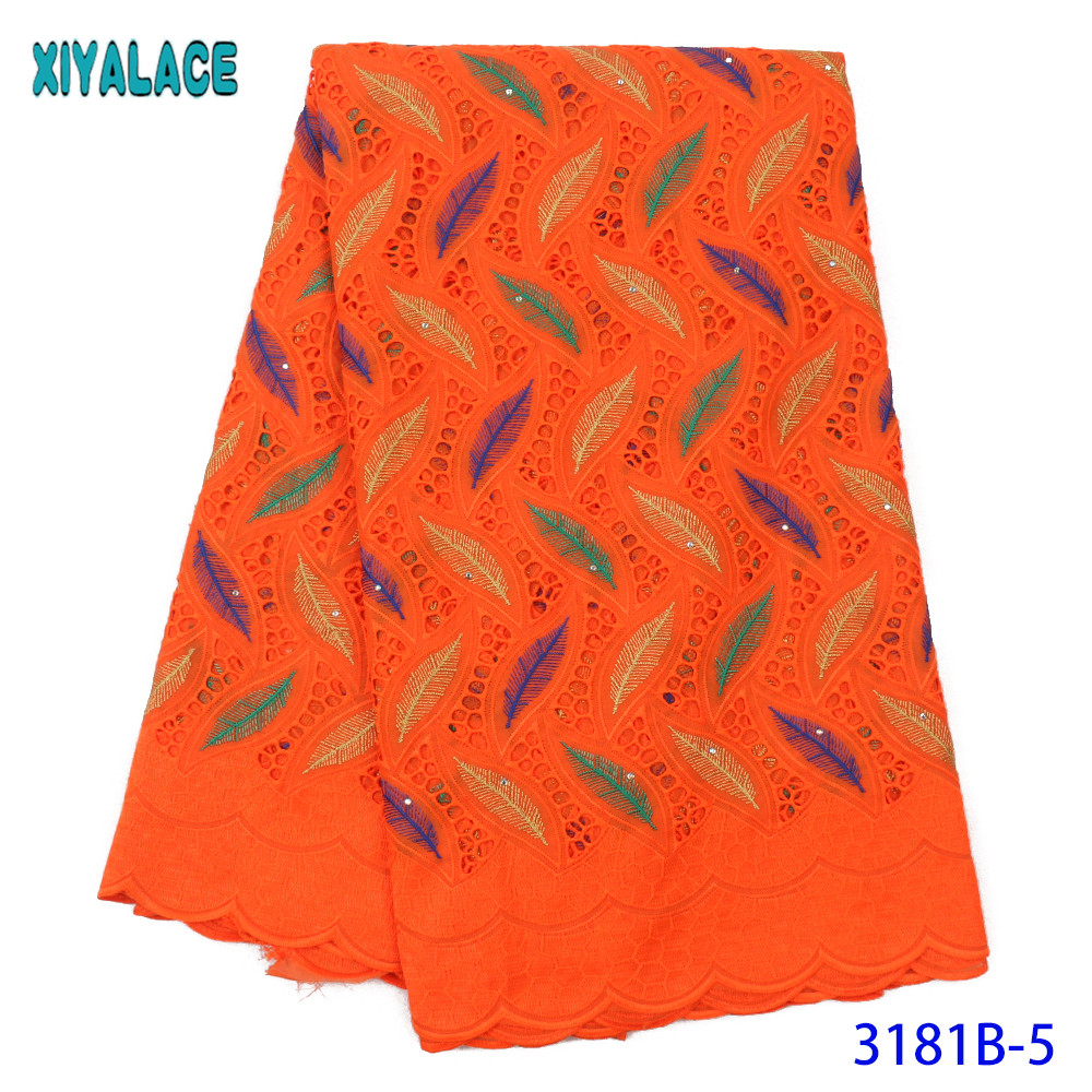 2020 High Quality  African Dry Cotton Lace Fabric Swiss Voile Laces In Switzerland Nigerian Laces With Stones KS3181B