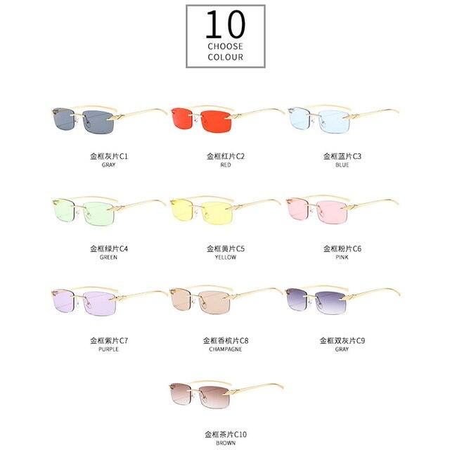 2020 Fashion Rectangle Sunglasses Women Rimless Small Lens Sunglasses Classical Alloy Metal Sun Glasses Men UV400 6