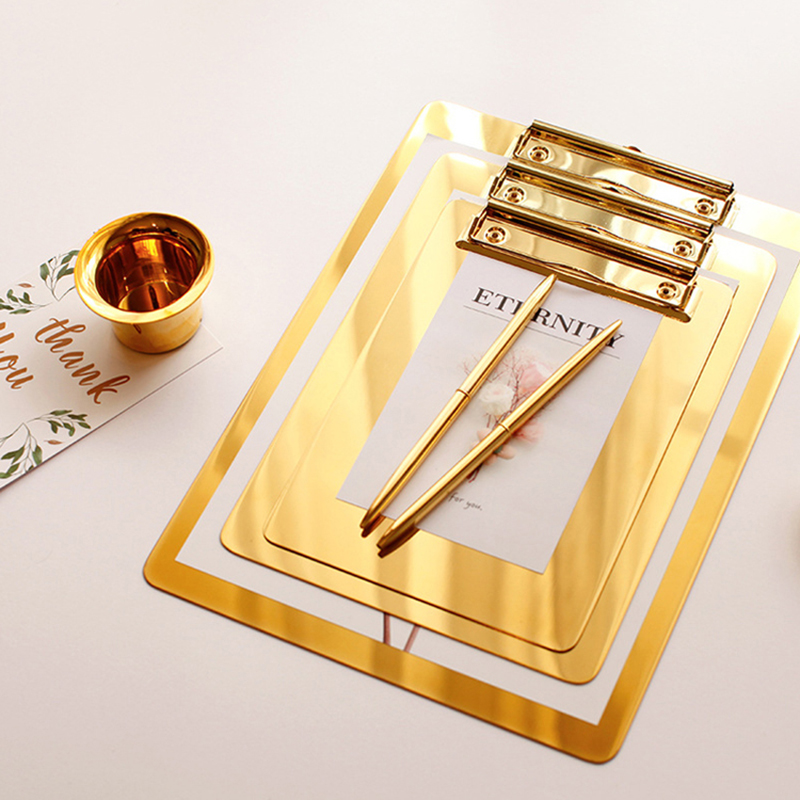 Nordic Style A5 File Folder Board Gold Stainless Steel Board Backing Board Plate Writing Plate Document Sorting Folder