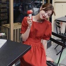 Summer Girls Dress Women Cotton Linen Casual short Sleeve Dresses Female Dress Vintage Solid Red dress Boho Robe Femme Vestido