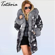 Tatariaผู้หญิงฤดูหนาวหนาอบอุ่นHooded Parkaผู้หญิงทหารParkasเสื้อโค้ทHooded Fur Collarเสื้อผู้หญิงFauxขนสัตว์กำมะหยี่แจ็คเก็ต