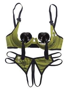Image 3 - Femmes Lingerie Sexy séduction Lingerie seins ouverts petits seins Push Up soutien gorge ouvert entrejambe culotte ensemble de sous vêtements ensemble de sous vêtements