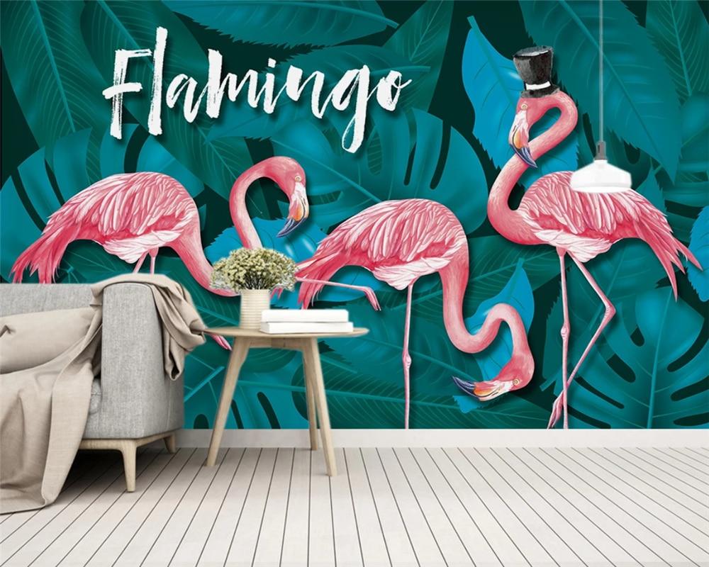 Купить с кэшбэком beibehang papel de parede wall paper Custom Nordic Tropical Plant Leaves Flamingo Kids Room Background Wallpaper papier peint