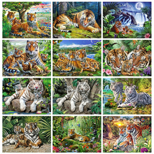 Huacan 5D Diamond Painting New Tiger DIY Diamond Mosaic Sale Summer Pictures Of Rhinestones New Arrival