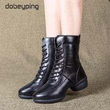 ผู้หญิงใหม่ Warm Boots รองเท้าหนังฤดูใบไม้ร่วงฤดูหนาวรองเท้าผู้หญิงรอบ Toe ซิปรองเท้าผู้หญิงรองเท้าส้นสูงกลางลูกวัวหญิงเต้นรำรองเท้า