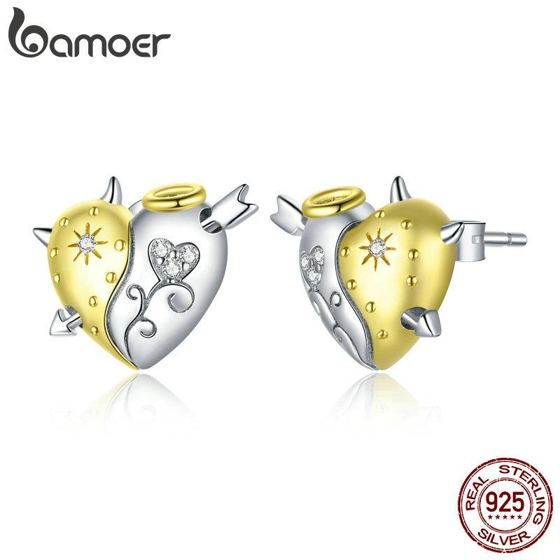 bamoer Genuine 925 Sterling Silver Angel and Demon Ear Studs Stud Earrings for Women Animal Fashion Jewelry Orecchini SCE973