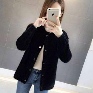 Image 4 - Pelliccia di visone autunno e in inverno maglione cappotto allentato 2020 nuove donne di velluto a maniche lunghe cardigan
