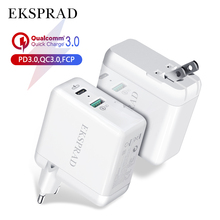USB C Caricatore Della Parete, EKSPRAD 36W 2 Tipo di Porta C Consegna con Pieghevole Spina del Caricatore con 18W di Potenza Per il iPhone 11 Pro carica veloce