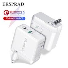 USB C Sạc Tường, eksprad 36W 2 Cổng Loại C Với Công Suất 18W Kèm Phích Cắm Có Thể Gập Lại iPhone 11 Pro sạc Nhanh