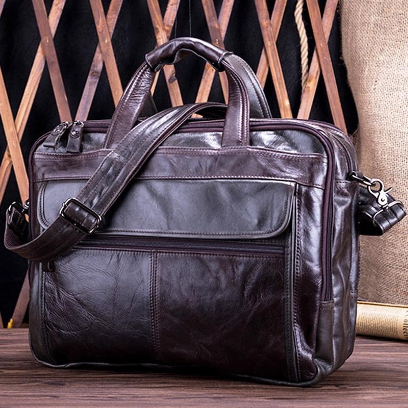ROCKCOW 100% Full Grain Leather Briefcase Mens Business Handbag Genuine Leather Laptop Shoulder Bags Men's Tote Bag