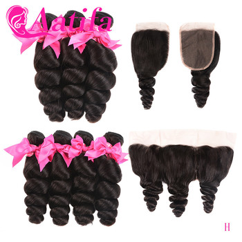 Loose Wave Human Hair Bundles With Closure Peruvian Rmey Hair 2/3 Bundles With 13*4 Middle Part Frontal Aatifa Hair image