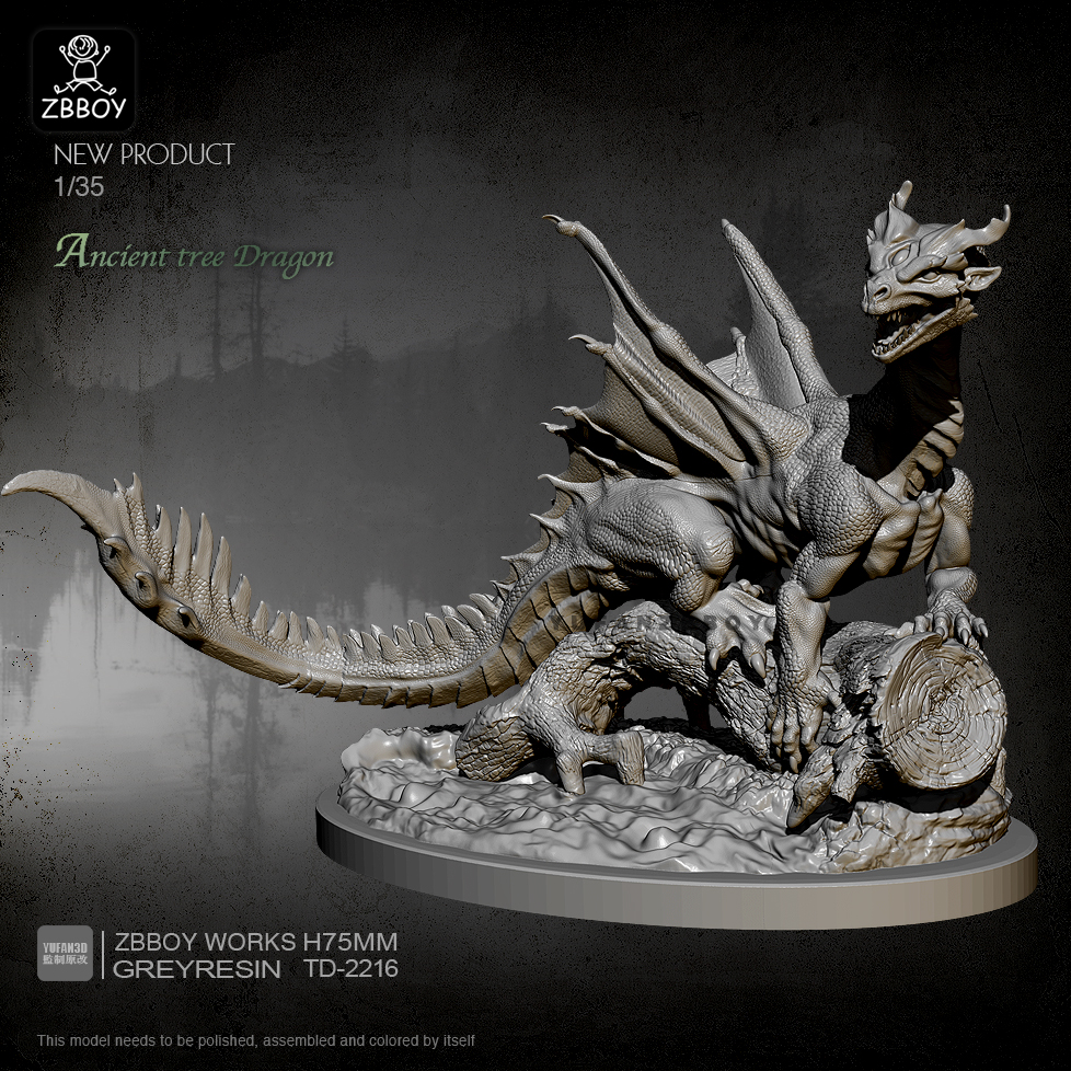 Resin Kit Tree Dragon Model Self-assembled TD-2216