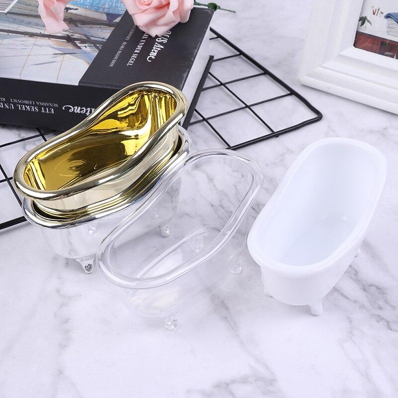 Мини-пластиковая Ванна коробка для хранения ювелирных украшений, контейнер для макияжа, настольный контейнер для хранения мелочей, золотис...