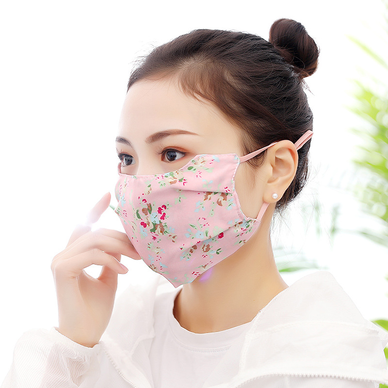 Spring And Summer New Style Women's Sun-resistant Imitated Silk Fabric Face Mask Sweet Floral-Print Mulberry Silk Dust Respirato