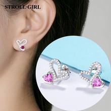 Strollgirl new arrival 925 Sterling Silver Double Heart to Heart Rose red CZ Stud Earrings for Women Brincos Fine Jewelry Bijoux цена 2017