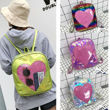 Silver Gold Pink Laser Backpack women girls Bag leather Holographic Backpack school bags for teenage girls new laser luminous small women leather backpack school bags for teenage girls mochila women foldable geometric backpack