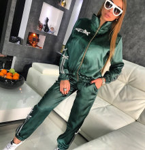 Two-piece set autumn winter new women zipper stitching casual sport two-piece suit running fitness separate