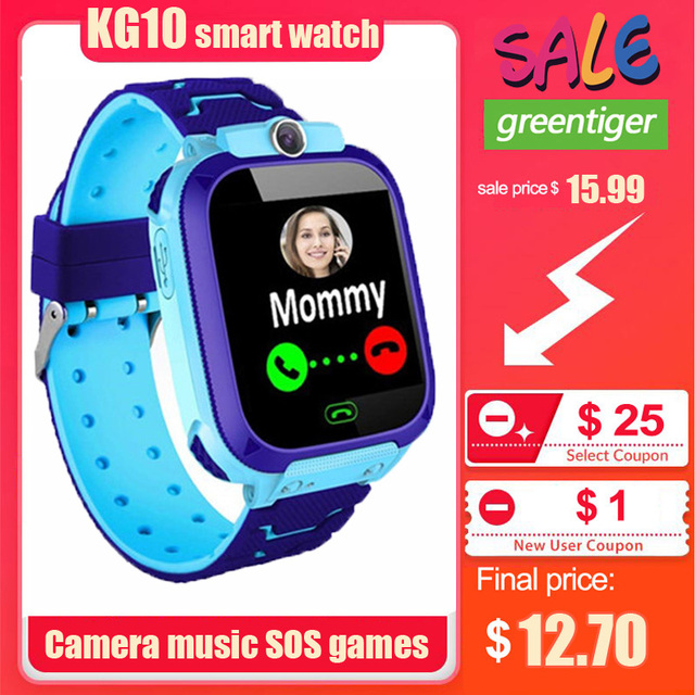 KG10 música reloj inteligente niños Cámara teléfono niño reloj Color pantalla táctil SOS Smart Baby Watch jugar juego música jugar reloj