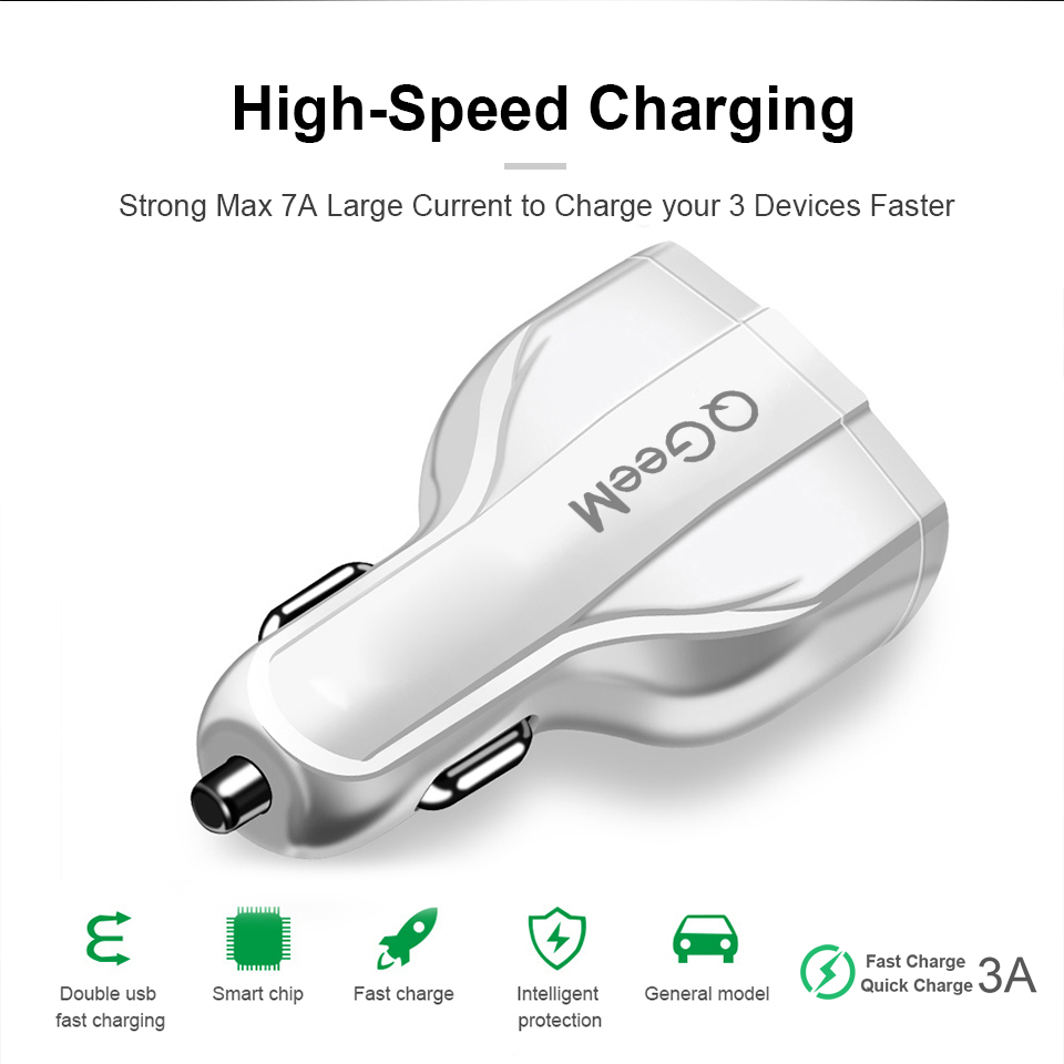 Image 5 - QGEEM QC 3.0 USB C Car Charger 3 Ports Quick Charge 3.0 Fast Charger for Car Phone Charging Adapter for iPhone Xiaomi Mi 9 Redmi-in Car Chargers from Cellphones & Telecommunications