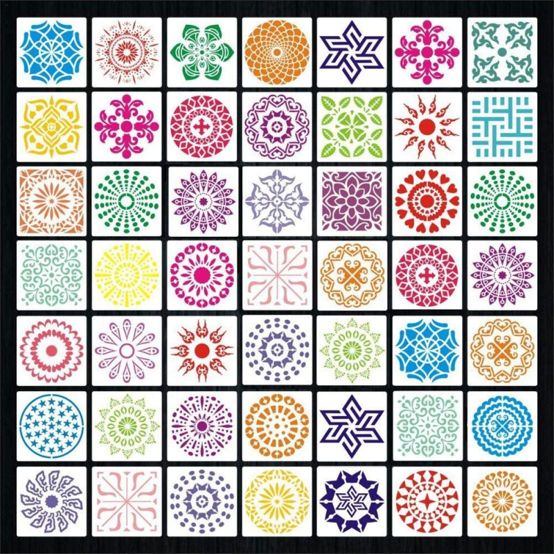 48 PCS Mandala Stencils Template  Reusable Painting Stencils For DIY Painting Art Home Decor