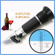 Handheld Wijn Alcohol Refractometer Met Atc Dual Schaal Brix 0-40% 0-25% Vol Optische Tester Voor Druif wijn Maken Wijnmakers