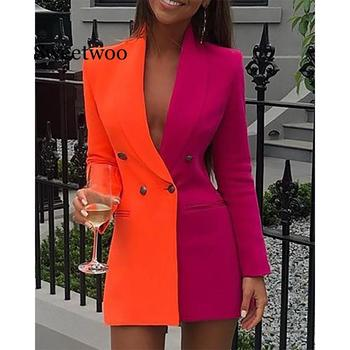 Contrast Color Official Ladies Casual Dress Women Fashion Button Skinny Bodycon Dress 2020 Sexy V-Neck Blazer Dress Suit contrast deep v empire waist work bodycon dress