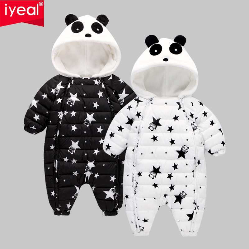 IYEAL New Fashion Newborn Winter Outerwear Baby Boy Girl Rompers Cotton Padded Panda Infant Clothes Thickening Jumpsuit