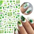 1 лист 3D наклеек для ногтей серия зеленых цветов листьев Переводные прекрасные наклейки слайдер DIY весенние украшения для ногтей