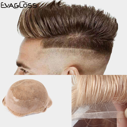 EVAGLOSS Men's Wig Durable Swiss Lace With Thin PU Indian Human Hair For Male Wigs Q6 Style Hair Mens Toupee Replacement System
