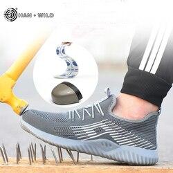 Homens segurança de aço toe sapatos homens malha de ar moda punctura-prova botas leve verão respirável tênis de trabalho sapato masculino