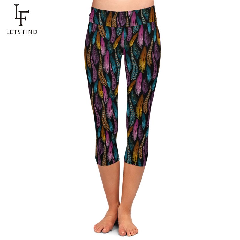 LETSFIND Plus Size Women Colorful Feathers Milk Silk Print Mid-Calf Pants High Waist Fashion Fitness Elastic Capri Leggings