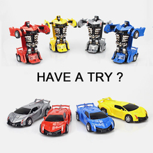 High Simulation One-button Back-up Deformation Vehicle Lamborghini Poison Transform Robot Car Model Toys for Children Funny Gift one robot