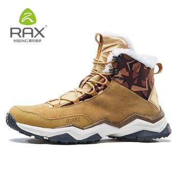 RAX Men Hiking Boots Cow Leather Women Trekking Shoes Black Waterproof Sports Climbing Outdoor Hunting Walking Sneakers 64-5J378