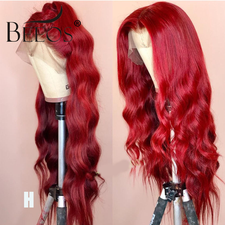 Beeos Wavy Colored Red Wigs For Women 13*6 Lace Front Human Hair Wigs PrePlucked Deep Parted Brazilian Remy Transaprent HD Lace